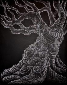 Gnarled Dark, 2013, white charcoal on black mat board, by Jennifer Ramey