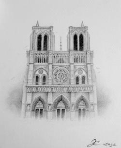 Notre Dame, graphite on paper, 2012, by Jennifer Ramey
