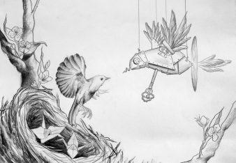 Mocking Bird, graphite on paper, 2009, by Jennifer Ramey