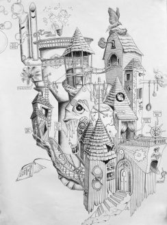 Imagination, Architecture, and Manifestation, 2008 ink on paper, by Jennifer Ramey