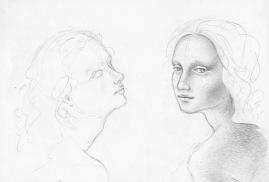 Two Ladies, after Da Vinci, red sketchbook, 2015