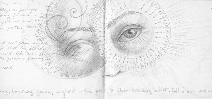 Few Eyes, red sketchbook, 2015