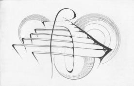 Three Turn Tables, black sketchbook, 2016