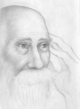 Old man, black sketchbook, 2016