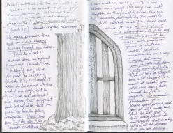 Two Trees, drawings and writing, black sketchbook, 2016